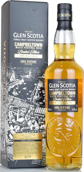 Glen Scotia 2003/2019 Peated Rum Cask Campbeltown Malts Festival 2019 51,3% vol.