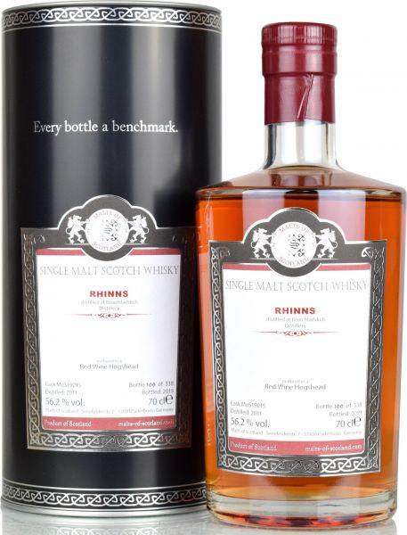 Rhinns (peated Bruichladdich) 2011/2019 Red Wine Cask Malts of Scotland 56,2% vol.