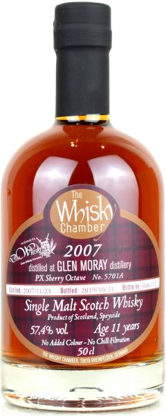 Glen Moray 11 Jahre 2007/2019 PX Sherry Whisky Chamber for deinwhisky.de 57,4% vol.