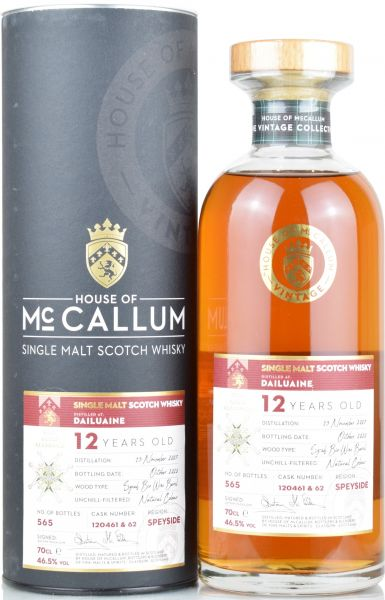 Dailuaine 12 Jahre 2007/2020 Syrah Bio Wine Cask House of McCallum #120461&62 46,5% vol.