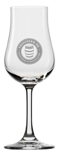Nosing-Glas mit fassstark.de-Logo