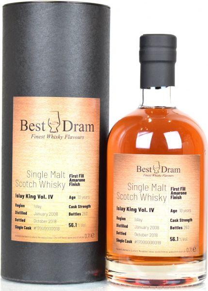 Islay King IV 10 Jahre 2008/2018 1st Fill Amarone Finish Best Dram 56,1% vol.