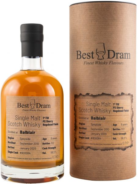 Balblair 9 Jahre 2010/2020 1st Fill PX Sherry Cask Best Dram 58,3% vol.
