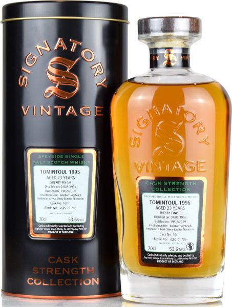 Tomintoul 23 Jahre 1995/2019 Sherry Finish Signatory Vintage Cask Strength Collection #16/1 53,6% vo
