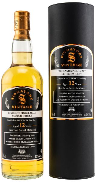Pulteney 12 Jahre 2008/2020 Signatory Vintage Un-Chillfiltered for Germany #800010