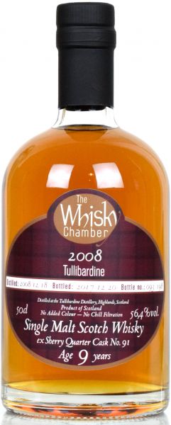 Tullibardine 9 Jahre 2008/2017 Sherry Quarter Cask The Whisky Chamber 56,4% vol.