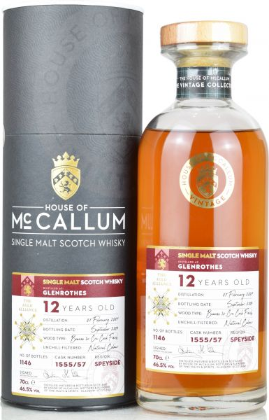 Glenrothes 12 Jahre 2007/2019 Beaune 1er Cru Cask House of McCallum #1555/57 46,5% vol.