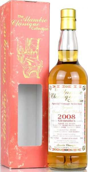 Glenrothes 11 Jahre 2008/2019 Refill Sherry Alambic Classique 64,7% vol.