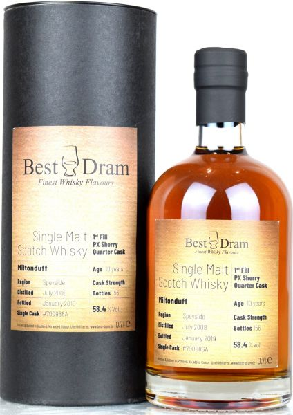 Miltonduff 10 Jahre 2008/2019 1st Fill PX Sherry Quarter Cask Best Dram 58,4% vol.