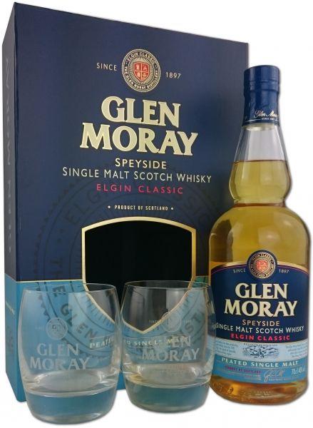 Glen Moray Peated Geschenkpackung mit 2 Gläsern