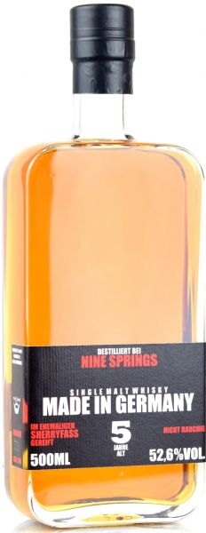 Nine Springs 5 Jahre 2015/2020 Amontillado Sherry Cask Made in Germany 52,6% vol.
