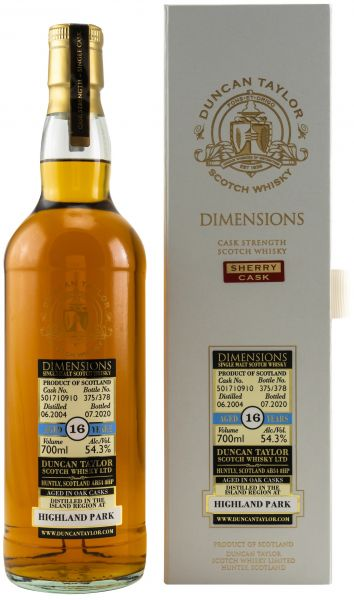 Highland Park 16 Jahre 2004/2020 Sherry Cask Duncan Taylor Dimensions 54,3% vol.
