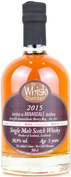 Annandale peated 5 Jahre 2015/2020 Amontillado Cask The Whisky Chamber 58,9% vol.