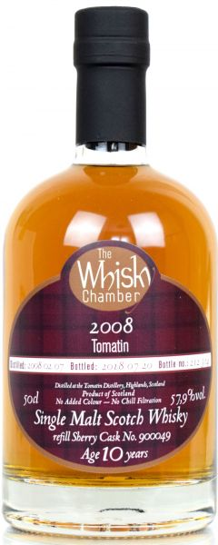 Tomatin 10 Jahre 2008/2018 Sherry Cask The Whisky Chamber 57,9% vol.