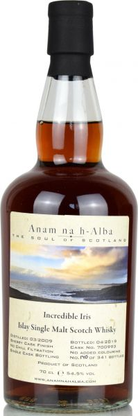 Incredible Iris 2009/2019 South Islay PX Sherry Cask Anam na h-Alba 54,5% vol.