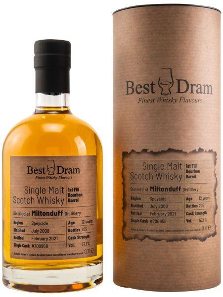 Miltonduff 12 Jahre 2008/2021 1st Fill Bourbon Barrel Best Dram 57,1% vol.