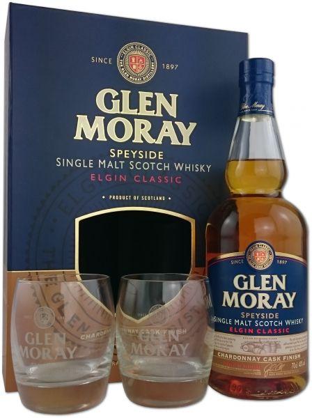 Glen Moray Chardonnay Cask Finish Geschenkpackung mit 2 Gläsern