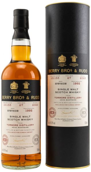 Tormore 27 Jahre 1992/2020 Odessa Black Wine Cask Berry Bros. & Rudd #101153 43,7% vol.