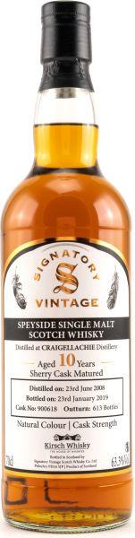 Craigellachie 10 Jahre 2008/2019 Sherry Cask Signatory Vintage Cask Strength 63,3% vol.