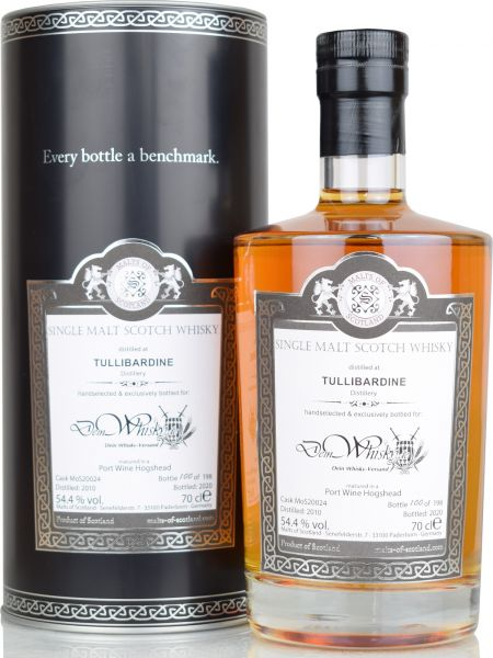 Tullibardine 10 Jahre 2010/2020 Port Cask Malts of Scotland for deinwhisky.de 54,4% vol.