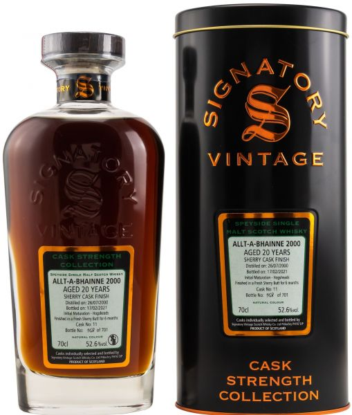 Allt-a-Bhainne 20 Jahre 2000/2021 Sherry Cask Signatory Vintage Cask Strength Collection 52,6% vol.