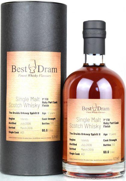 The Druids Orkney Spirit Vol. II 12 Jahre 2006/2019 1st Fill Ruby Port Cask Best Dram 60,6% vol.