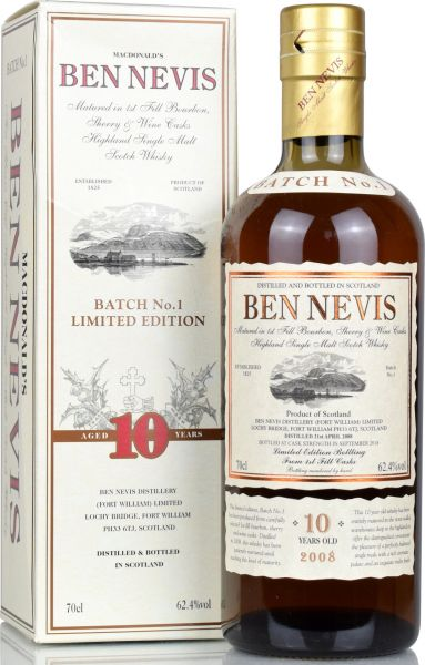 Ben Nevis 10 Jahre 2008/2018 Cask Strength Batch #1 62,4% vol.
