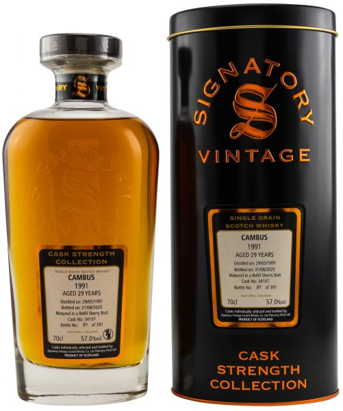 Cambus 29 Jahre 1991/2020 Sherry Cask Signatory Vintage Cask Strength Collection #34107 57% vol.