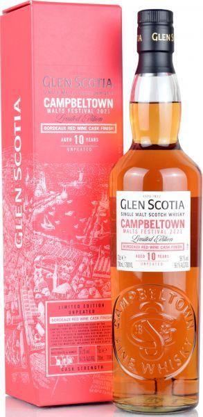 Glen Scotia 10 Jahre Bordeaux Red Wine Cask Campbeltown Malts Festival 2021 56,1% vol.