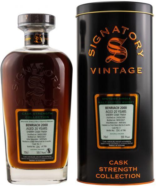 Benriach 20 Jahre 2000/2021 Sherry Cask Signatory Vintage Cask Strength Collection 59,1% vol.