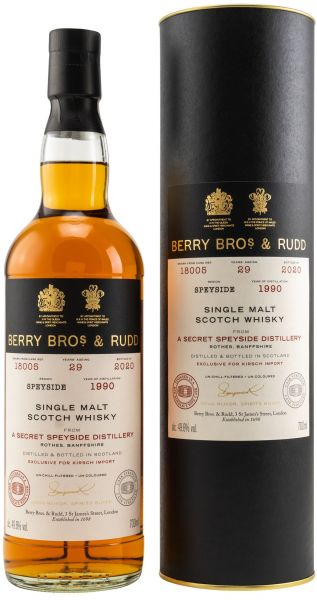 Secret Speyside 29 Jahre 1990/2020 Sherry & Bordeaux Cask Berry Bros. & Rudd #18005 49,6% vol.