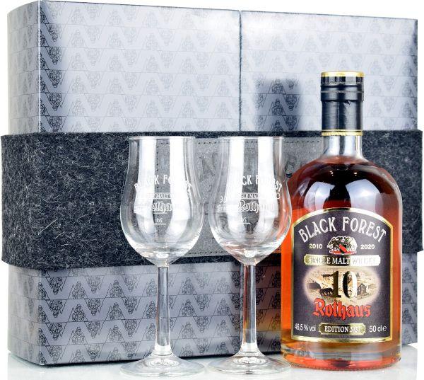 Black Forest Rothaus 10 Jahre Edition 2020 Geschenkset mit 2 Gläsern 46,5% vol.