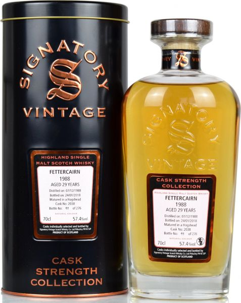 Fettercairn 29 Jahre 1988/2018 Signatory Vintage Cask Strength Collection #2038