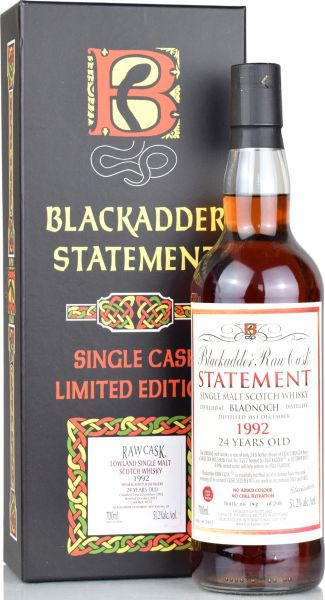 Bladnoch 24 Jahre 1992/2017 Wine Cask Blackadder Statement Raw Cask 51,2% vol.